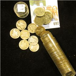 Roll of WW II era U.S. Steel Cents in a plastic tube; 1918, (3) 1920 era, & (3) 1930 era Mercury Sil