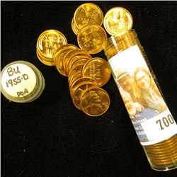 1955 D Original Gem BU Roll of Lincoln Cents in a plastic tube.