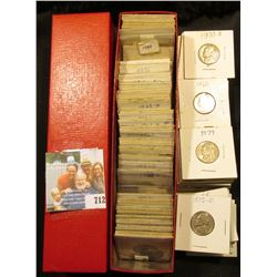 "Single Row 9"" Red 2"" x 2"" Coin box full of Dealer Stock Jefferson Nickels including Silver War Nicke"