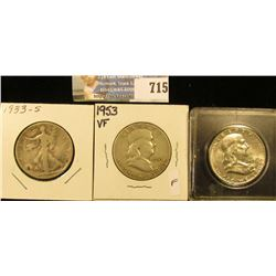 1933 S Good Walking Liberty Half Dollar; 1953 P VF & 59 P AU Franklin Half Dollars.