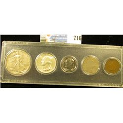 Five-Piece Coin Set in a Snaptight case, includes: 1904 Indian Cent (damaged). 1910 Liberty Nickel,