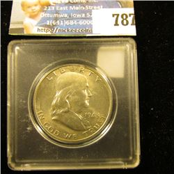 1948 D Franklin Half Dollar, lightly toned, near full Bell Lines Uncirculated. In a Snaptight holder