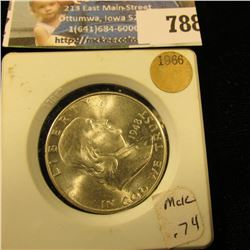 1948 D Franklin Half Dollar, Gem BU in a White plastic holder.