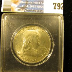 1950 D Franklin Half Dollar, Brilliant Uncirculated, in a Snaptight coin case.