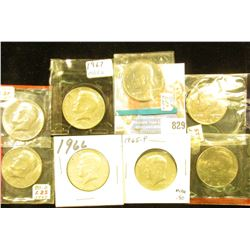 1965P, 66P, 67P, 71P, 74D, 80D, 85P & D BU Kennedy Half Dollars, several in original Mint cellophane