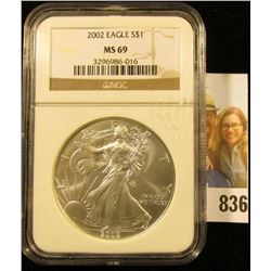 2002 American Eagle One Ounce .999 Fine Silver Dollar NGC slabbed MS69.