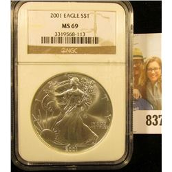2001 American Eagle One Ounce .999 Fine Silver Dollar NGC slabbed MS69.