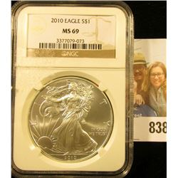 2010 American Eagle One Ounce .999 Fine Silver Dollar NGC slabbed MS69.
