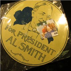 """1928 License Plate Attachment (Hoover) """"For President Al Smith"""""""