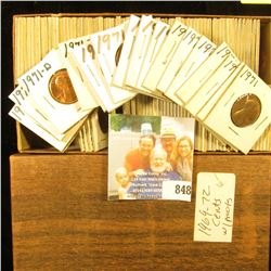 """Double Row 6"""" Stock Box full of Lincoln Cents in 1 1/2"""" x 1 1/2"""" holders dating 1969S-72S, most or a"""