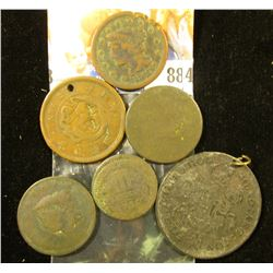 (6) Old Coppers including a couple of Large Cents, one piece dates back to 1759.