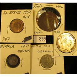 South Africa 1/4 Pence Uncirculated, Y49; 1942 South Africa Large One Pence; 1871 Bavaria Germany Si