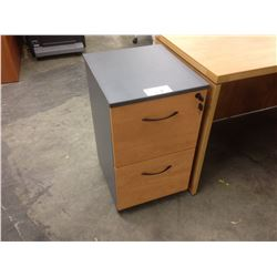 MAPLE AND GREY 2 DRAWER MOBILE FILE PEDESTAL
