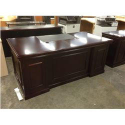 MAHOGANY TRADITIONAL 6' X 3' EXECUTIVE DESK, COMES WITH GLASS DOOR HUTCH