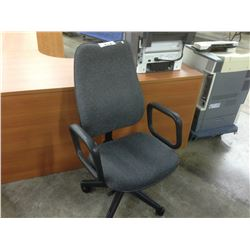 CHARCOAL GREY LOOP ARM FULLY ADJUSTABLE MID BACK TASK CHAIR