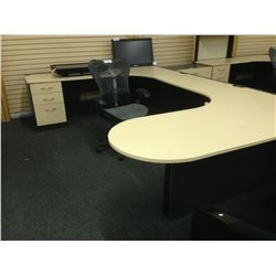 MAPLE AND GREY 6.5' X 10' U-SHAPE EXECUTIVE DESK, LH C/W HUTCH
