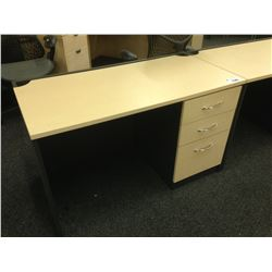 MAPLE AND GREY 4' COMPUTER DESK, COMES NO HUTCH