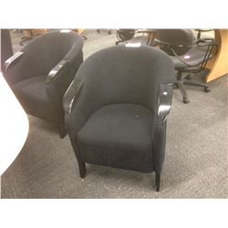 BLACK FABRIC TULIP STYLE RECEPTION CHAIR