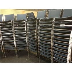 STACK OF 10 BLUE FABRIC AND METAL FRAME SIDE CHAIRS