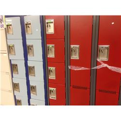 BANK OF 6 CUBBY LOCKERS, RED
