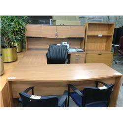 MAPLE U-SHAPE 6' X 8' EXECUTIVE DESK, COMES WITH HUTCH, RH
