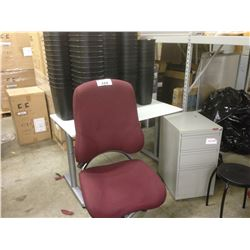 4' COMPUTER DESK, RED TASK CHAIR, AND MISC. WASTE BINS