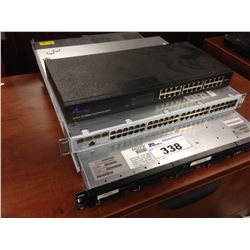 HP PROLIANT DL360 G7 SERVER, 3COM NETWORK SWITCH, AND AIRLINK 101 24 PORT SWITCH