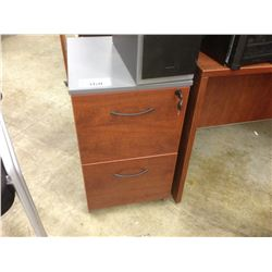 CHERRY AND GREY 2 DRAWER MOBILE PEDESTAL