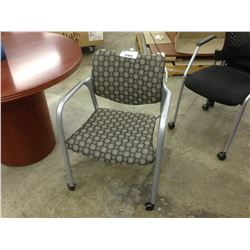 HAWORTH GREY PATTERNED MOBILE ARMCHAIR