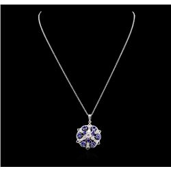 2.88 ctw Tanzanite, Sapphire and Diamond Necklace - 14KT White Gold