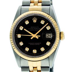 Rolex Mens 36mm Two Tone Yellow Gold Black Diamond DateJust Wristwatch