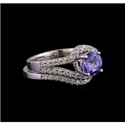 1.27 ctw Tanzanite and Diamond Ring Set - 14KT White Gold