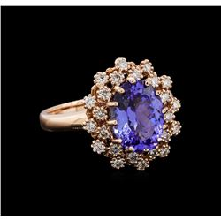3.03 ctw Tanzanite and Diamond Ring - 14KT Rose Gold