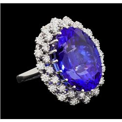 GIA Cert 24.23 ctw Tanzanite and Diamond Ring - 14KT White Gold
