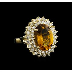 4.75 ctw Citrine and Diamond Ring - 14KT Yellow Gold