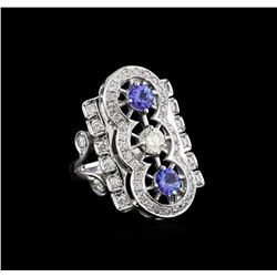 0.84 ctw Tanzanite and Diamond Ring - 14KT White Gold