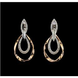 0.76 ctw Diamond Earrings - 14KT Two Tone Gold