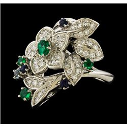 0.56 ctw Diamond, Emerald and Sapphire Ring - Platinum