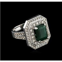 14KT White Gold 2.96 ctw Emerald and Diamond Ring