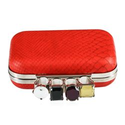 Red Textured Evening Clutch