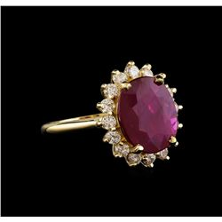 GIA Cert 5.56 ctw Ruby and Diamond Ring - 14KT Yellow Gold