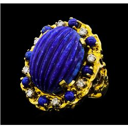 17.00 ctw Lapiz Lazuli and Diamond Ring - 14KT Yellow Gold