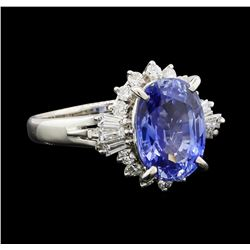 4.92 ctw Sapphire and Diamond Ring - Platinum