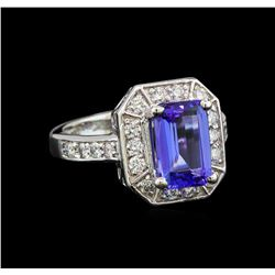 14KT White Gold 2.41 ctw Tanzanite and Diamond Ring