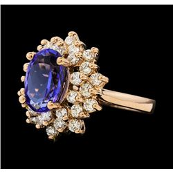 2.72 ctw Tanzanite and Diamond Ring - 14KT Rose Gold