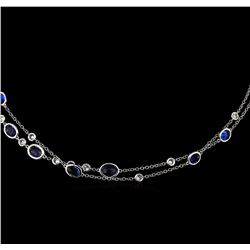 14.90 ctw Sapphire and Diamond Necklace - 14KT White Gold