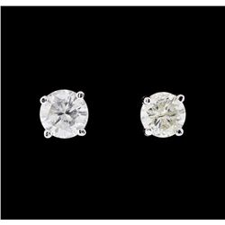 1.04 ctw Diamond Earrings - 14KT White Gold
