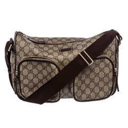 Gucci Brown Coated Canvas Leather Trim Crossbody Bag