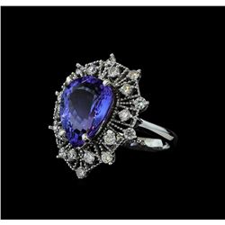9.13 ctw Tanzanite and Diamond Ring - 14KT White Gold