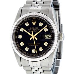 Rolex Mens Stainless Steel Black Diamond Sapphire Quickset 16234 Datejust Wristw
